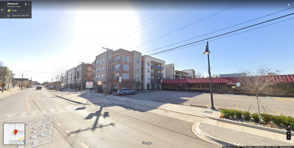 The Google Street View of the block of Race Street in Fort Worth, Texas where Blaize Culture's store is located - tucked on the west side of this mixed-use development next to the Hispanic Church.